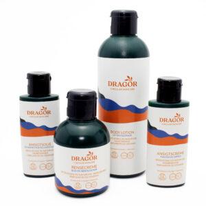 Naturlig rensecreme, ansigtscreme, ansigtsolie og body lotion fra dragor skincare